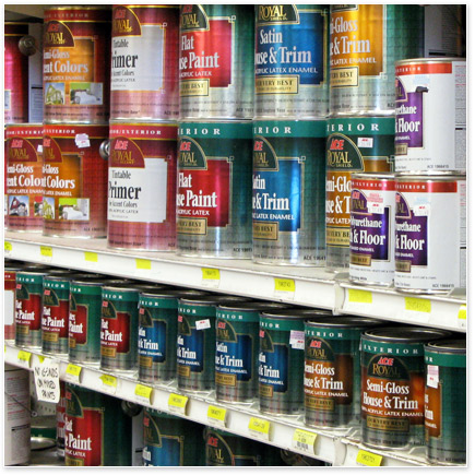Kelly's Hardware has a complete selection of paint and painting supplies